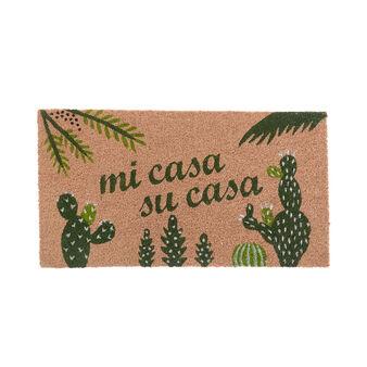 Coconut doormat with cactus motif