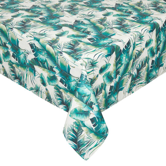 Water-repellent cotton blend tablecloth with palm print