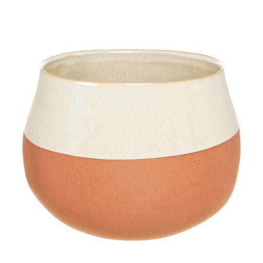 Vaso in terracotta ceramicata a contrasto