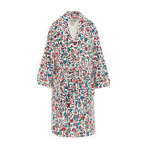 Cotton velour bathrobe with floral print