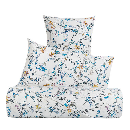 Cotton percale duvet cover set with ramage pattern