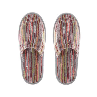 Cotton slippers with striped jacquard design