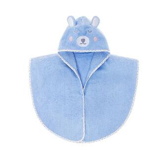 Terry poncho bathrobe with teddy bear embroidery