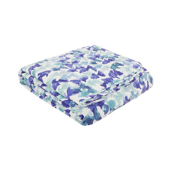 Quilted bedspread in cotton percale with fish pattern