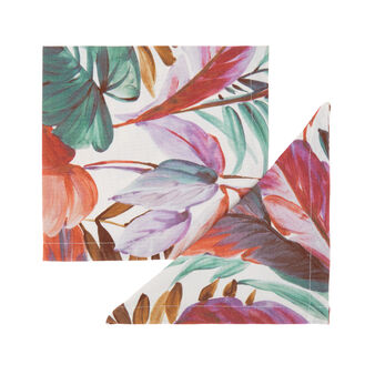 2-pack napkins in 100% cotton with leaf print
