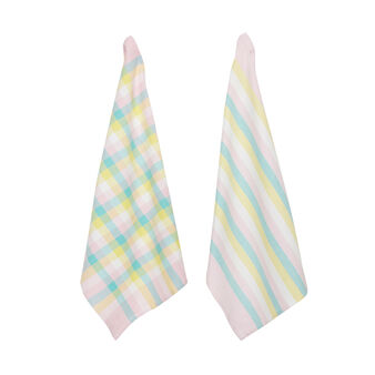 Set of 2 yarn-dyed tea towels in 100% cotton