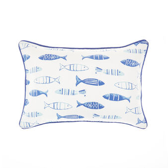 Watercolour-style fish print cushion