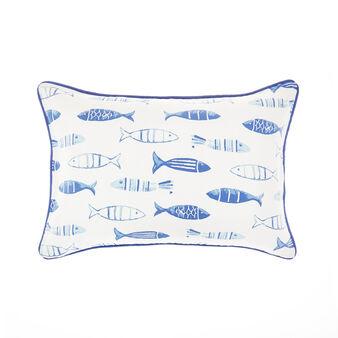 Watercolour-style fish print cushion