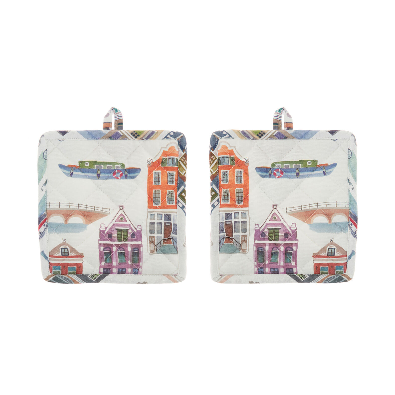Set of 2 pot holders in 100% cotton with Amsterdam print