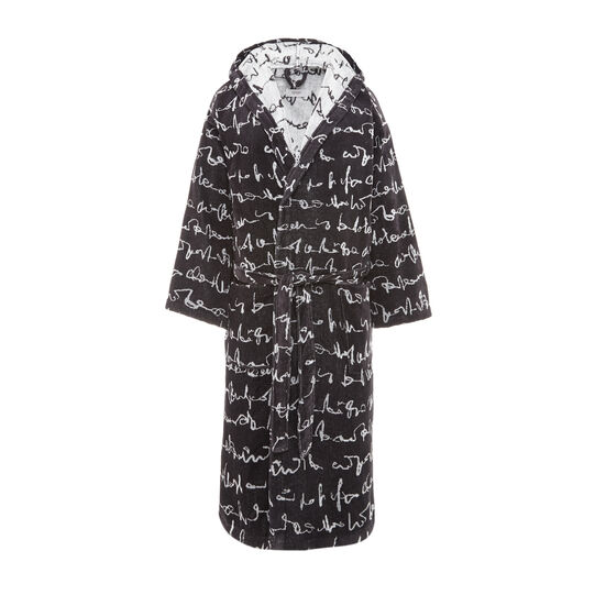 Cotton terry bathrobe with lettering motif