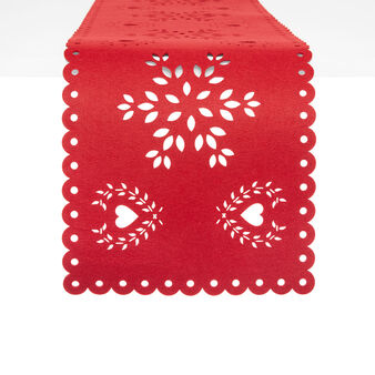Felt table runner with openwork design