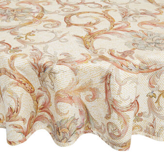 Round 100% cotton tablecloth with medallion print