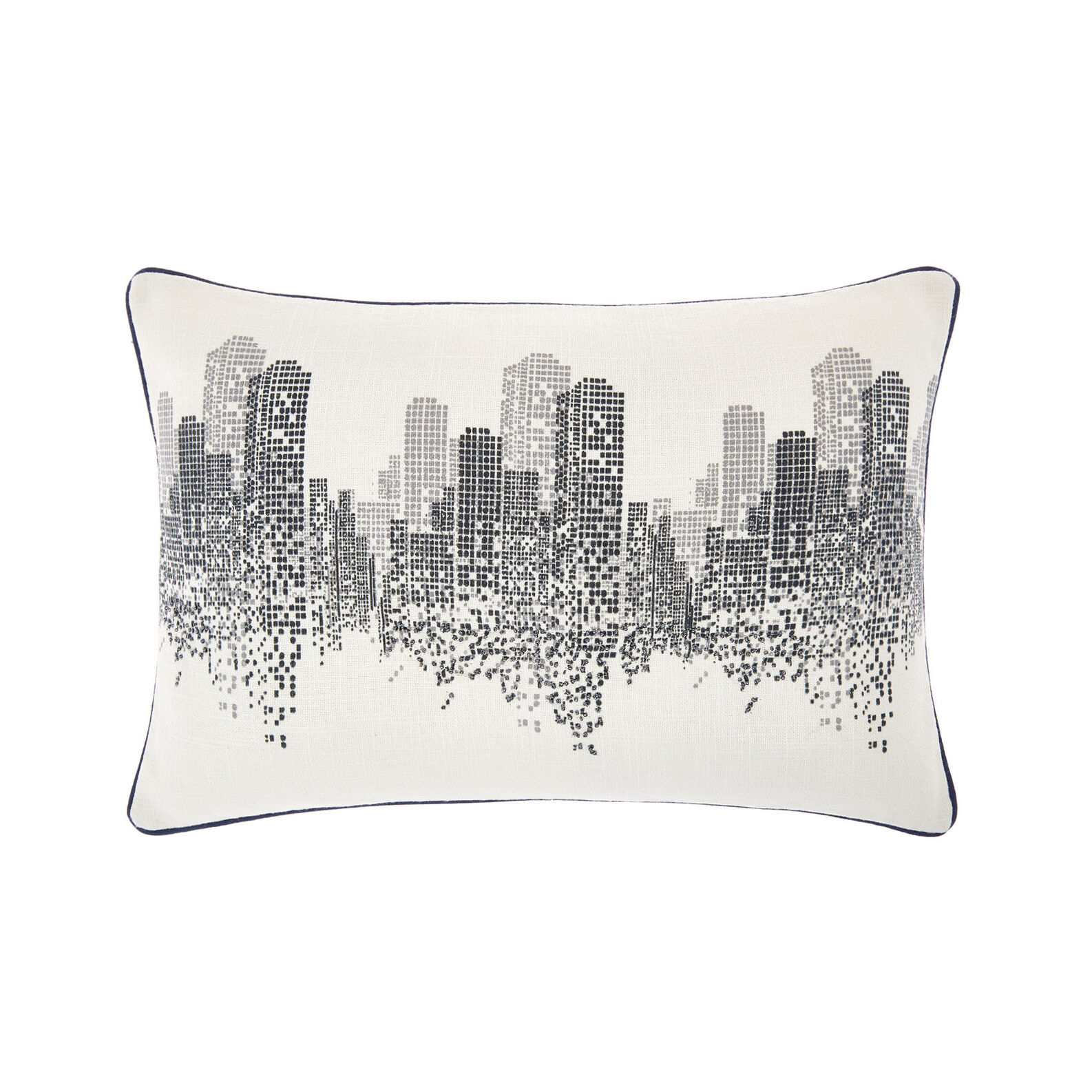 Cushion with skyscraper embroidery 35x50cm