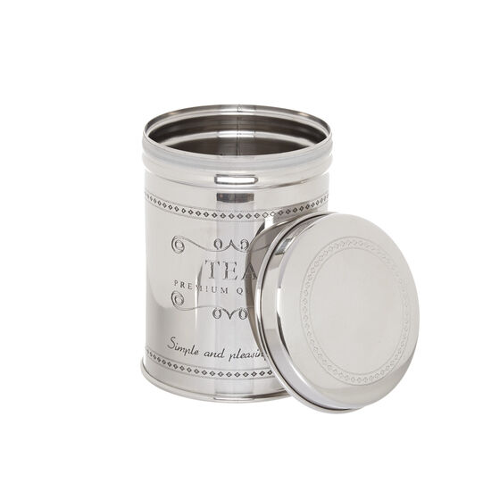 Steel tea tin with lettering