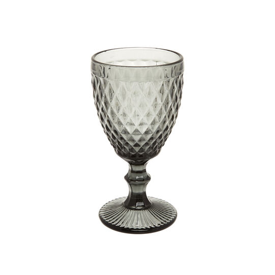Faceted glass goblet