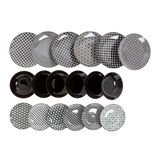 Set of 18 stoneware plates with geometric motif