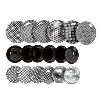 Set 18 piatti stoneware motivo geometrico