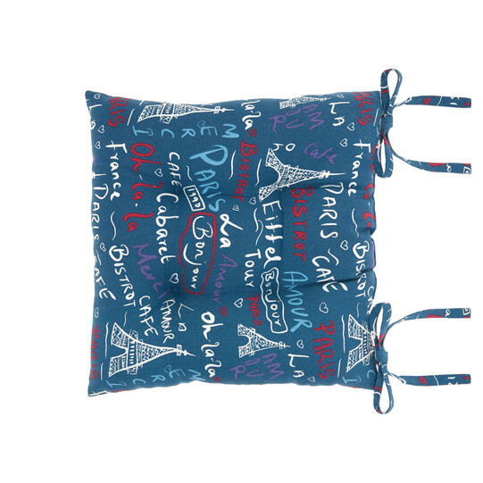 Kitchen seat pad in 100% cotton with Paris print