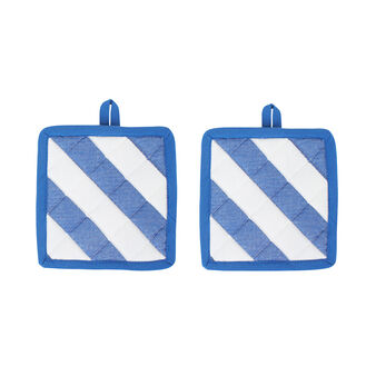 Set of 2 cotton pot holders diagonal stripes