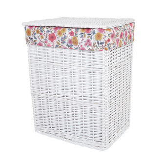 Laundry basket in wood and floral fabric