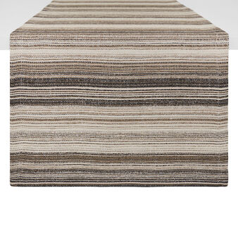 Striped table runner in 100% yarn-dyed linen