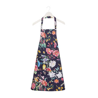 Bib apron in cotton twill with floral print
