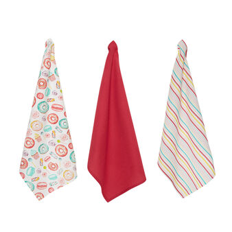 Set of 3 patterned tea towels in 100% cotton