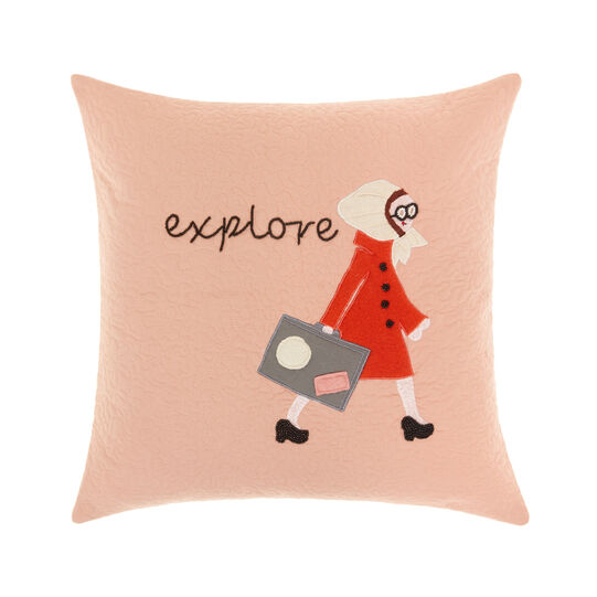 Cushion with explorer embroidery 45x45cm