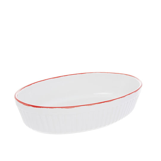 Stoneware oven dish with red line