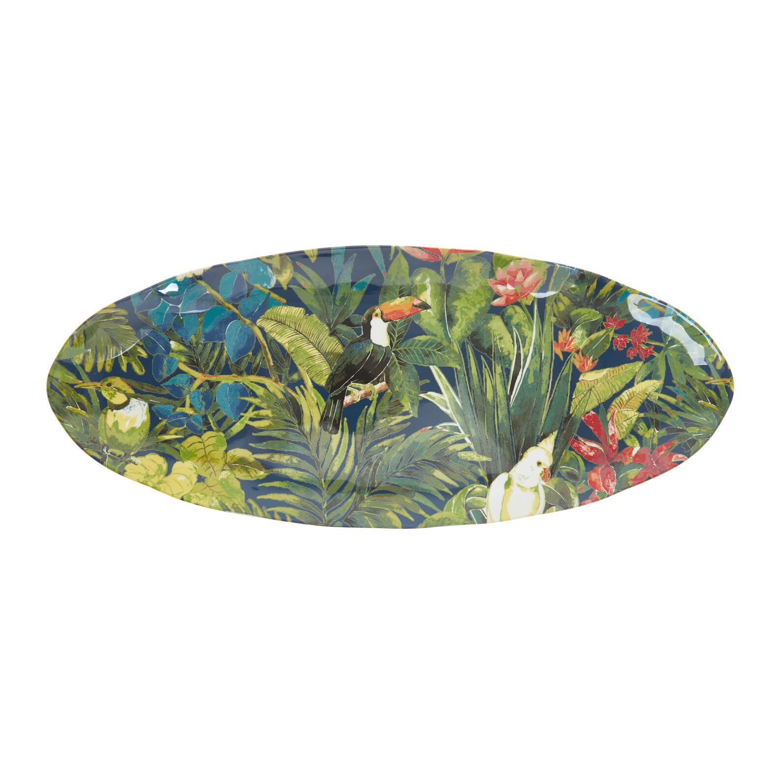 Melamine serving dish with tropical motif