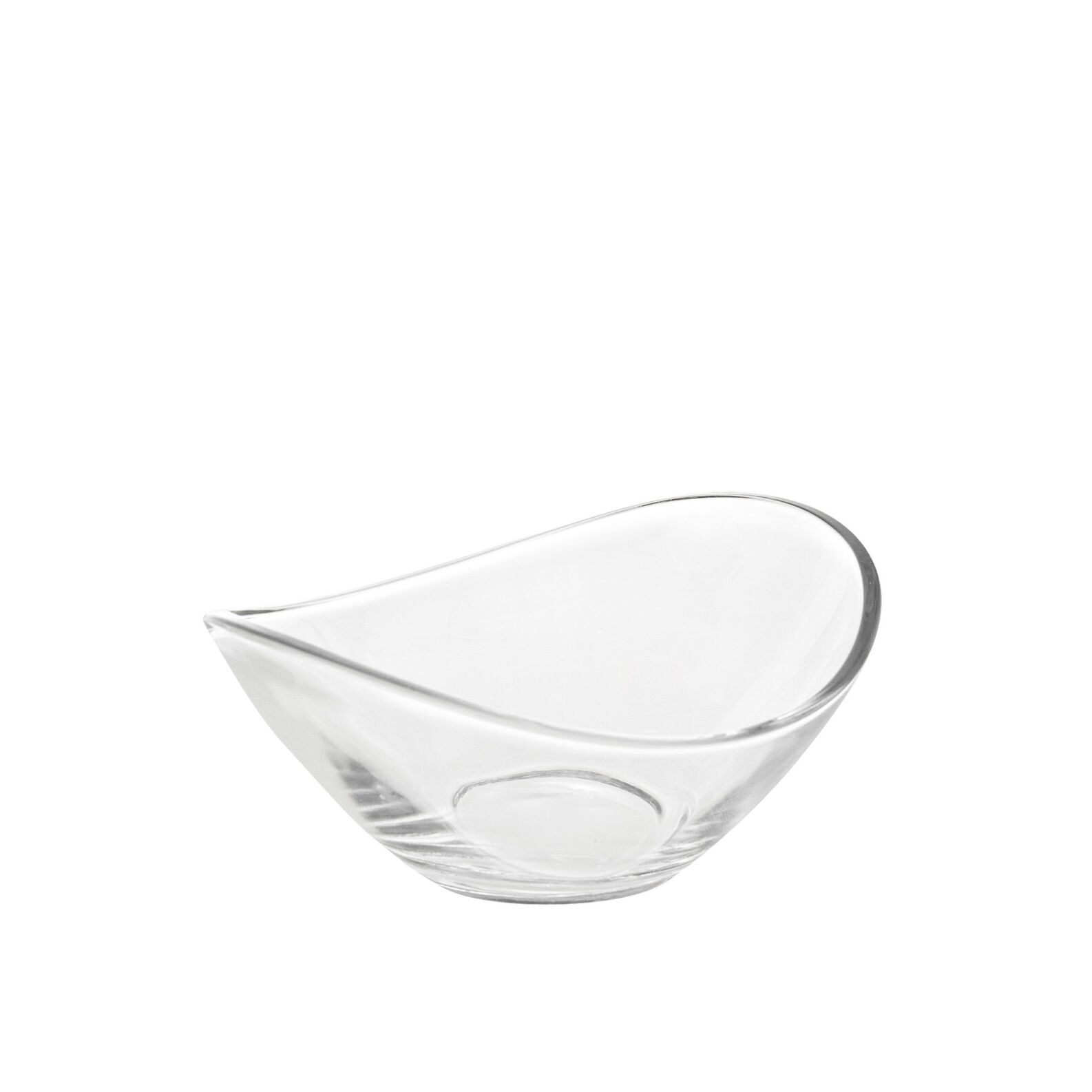 Glass dessert bowl with asymmetrical rim.