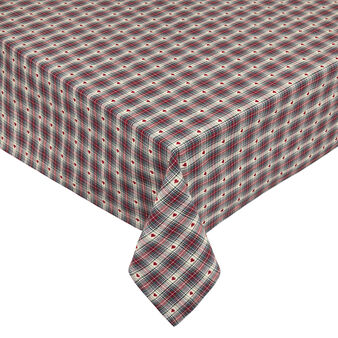 Tablecloth in 100% cotton with tartan and hearts motif