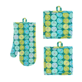 Set of 2 pot holders and an oven mitt in 100% cotton with circular geometric print