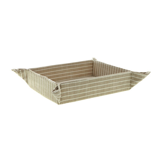 Striped cotton bread basket