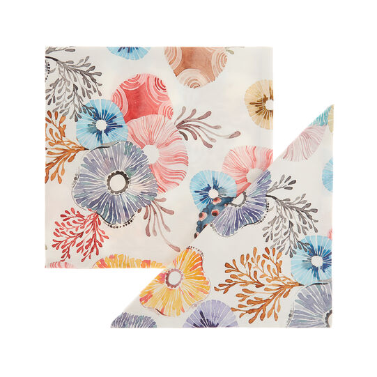 Set of 2 napkins in cotton twill with flowers print