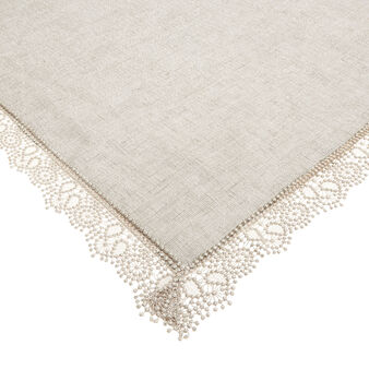 Linen blend table cover with lurex and lace edge