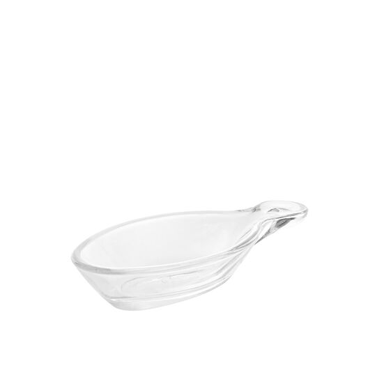 Glass oval dessert bowl with handle.