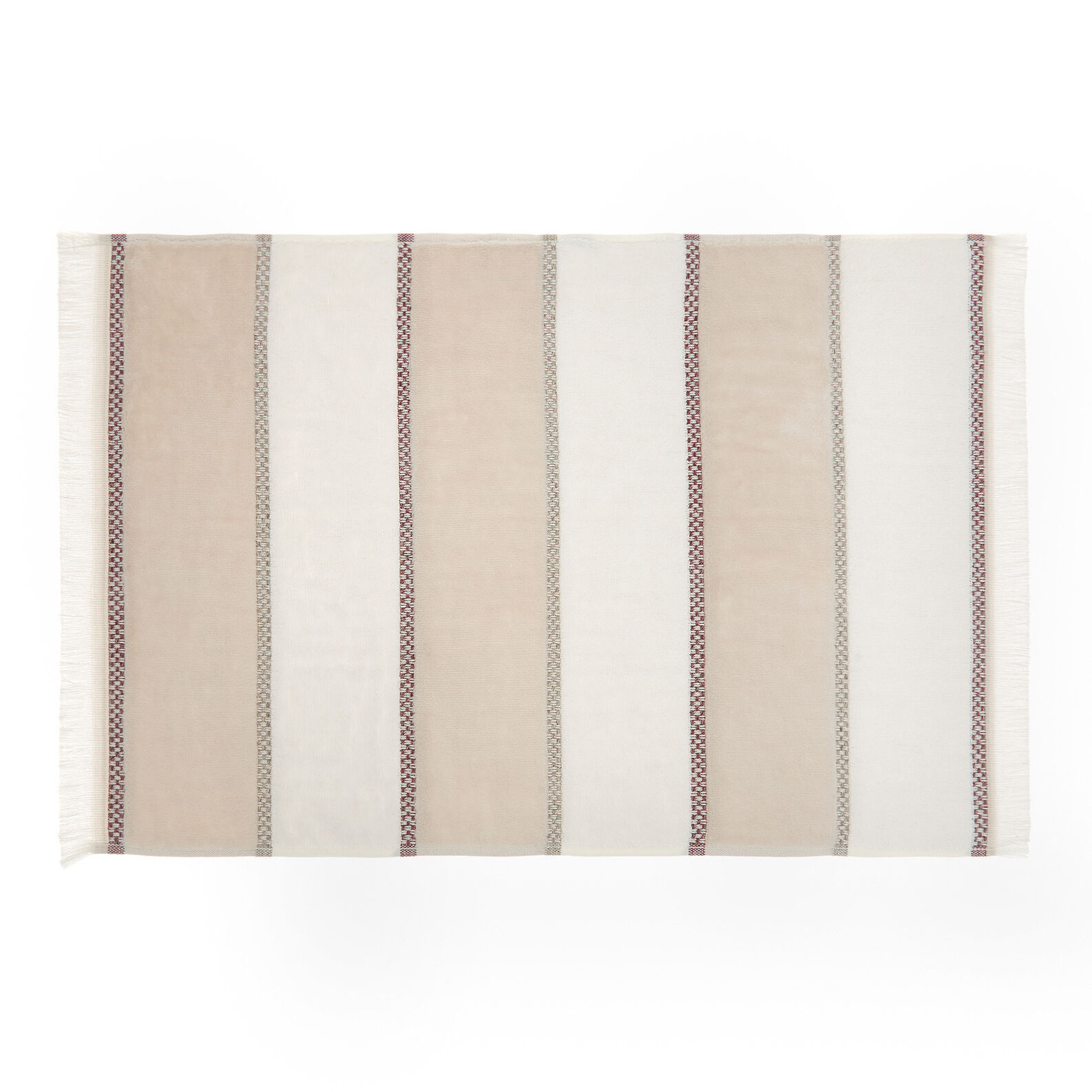 Cotton terry towel with striped motif