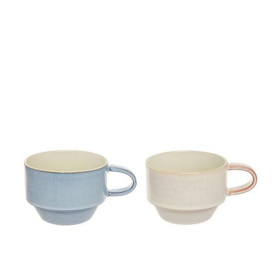 Coloured stoneware teacups