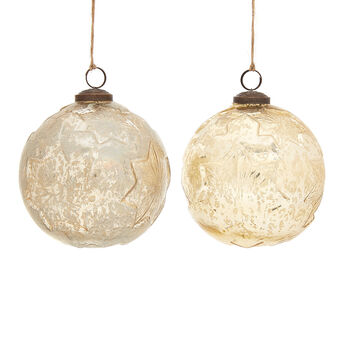 Decorative handmade bauble in distressed-effect glass