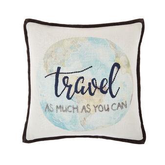 Globe print cushion 45x45cm