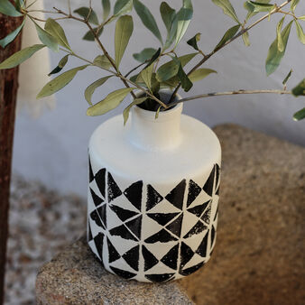 Portuguese ceramic hand-crafted vase with geometric decoration