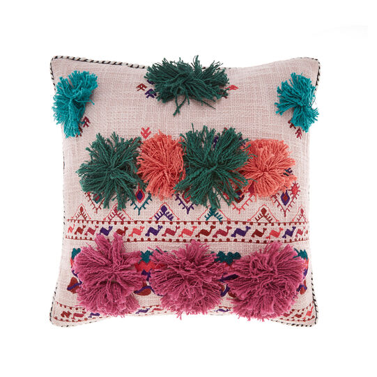 Cushion with embroidery and applications
