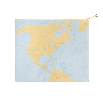 Beauty bag with map decoration