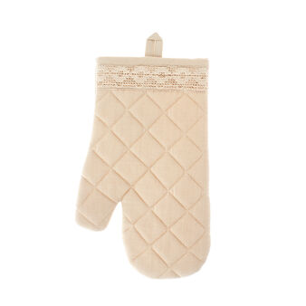 Oven mitt in 100% cotton with lace