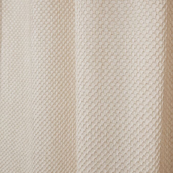 Linen blend curtain with waffle weave and concealed loops