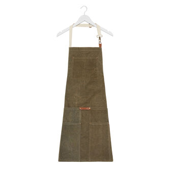 Cotton canvas apron with leather details