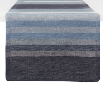 Striped table runner in 100% faded-effect linen