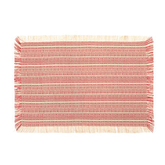 100% cotton striped table mat with fringing