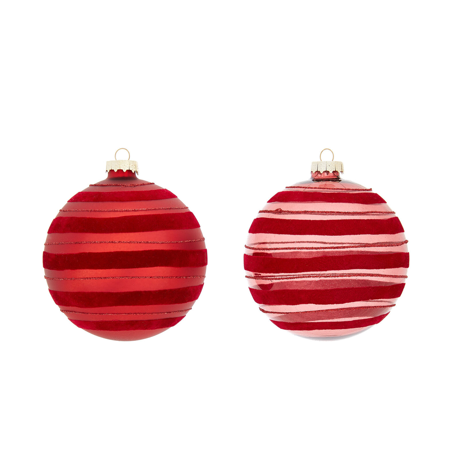 Hand-decorated striped velvet bauble